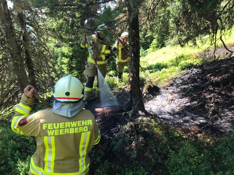 Waldbrand am Nonsjöchl in Weerberg